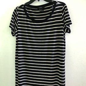 F21 | Black and White Stripped Midi Dress